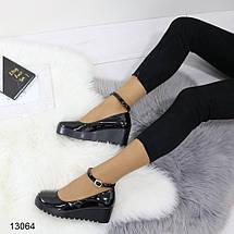 Туфли женские черные на платформе, фото 3