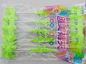 Плечики тремпеля для брюк и юбок металлические с пластмассовой  прищепкой салатового цвета, длина  30 см, фото 2