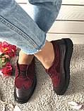 Стильные женские туфли Оксфорды на шнурках бордовые, фото 5