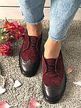 Стильные женские туфли Оксфорды на шнурках бордовые, фото 6