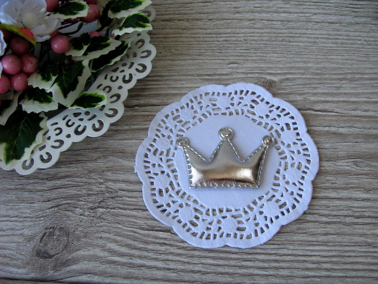 Патчи корона из эко-кожи серебро 5.5 см на 3.8 см