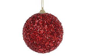 Елочный шар 10см, красный с покрытием лёд BonaDi 182-850
