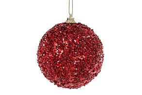 Елочный шар 8см, красный с покрытием лёд BonaDi 182-851