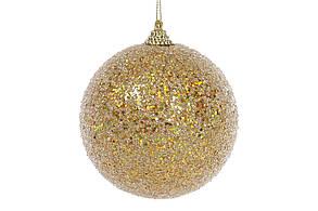 Елочный шар 10см, золотой с покрытием лёд BonaDi 182-871