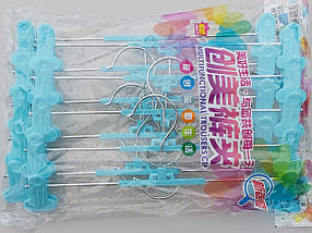 Плечики тремпеля для брюк и юбок металлические с пластмассовой  прищепкой бирюзового цвета, длина  30 см, фото 2