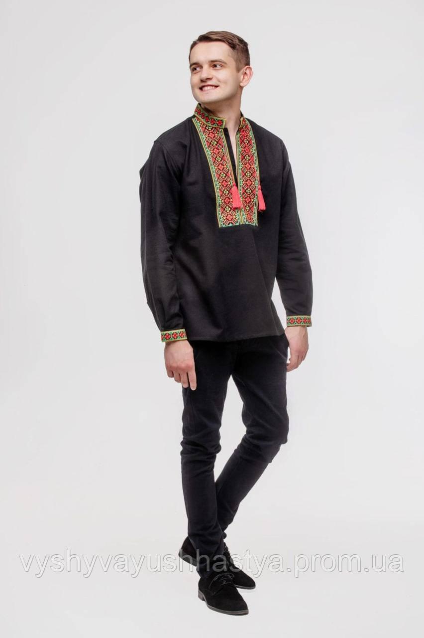 Рубашка мужская «Багрянец». Черное полотно. Хлопок 100%