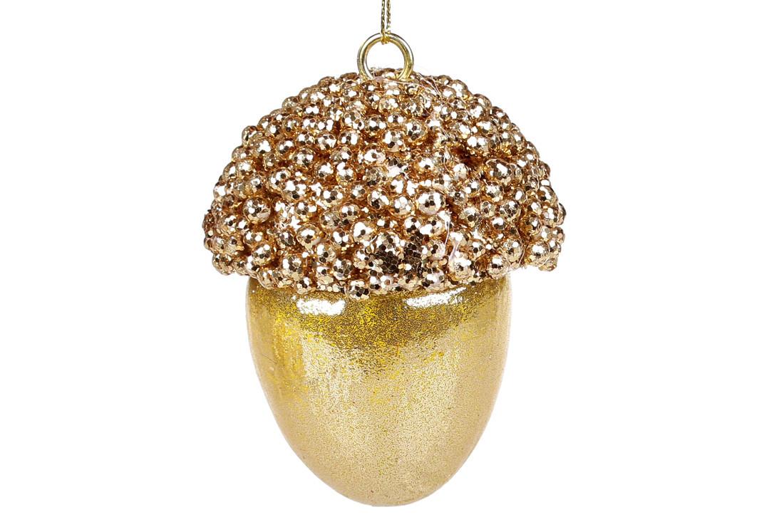 Елочное украшение Желудь, 9см, цвет - золотистый BonaDi 182-950
