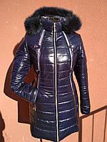 Зимняя длинная куртка с натуральным мехом, темно-синяя, фото 1