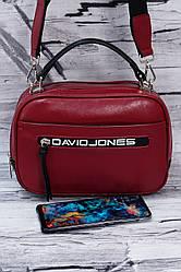 Сумка-клатч на два отделения на широком ремне David Jones 5462 dark red.