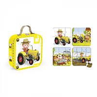Пазлы для детей, набор из 4 пазлов Питер и его трактор Janod J02886