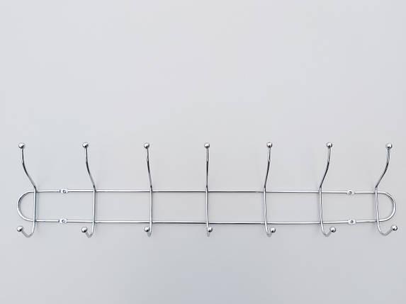 Длина 55,5 см. Вешалка ВНТ7  настенная металл в хромированном покрытии на 7 крючков, фото 2