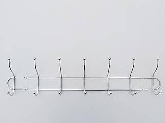 Длина 55,5 см. Вешалка ВНТ7  настенная металл в хромированном покрытии на 7 крючков