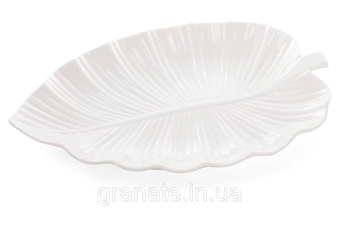 Сервировочное фарфоровое блюдо Лист 30 см, цвет: белый, 2 штуки
