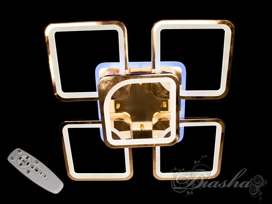 Сучасна світлодіодна люстра 8060/4+1G LED 3color dimmer