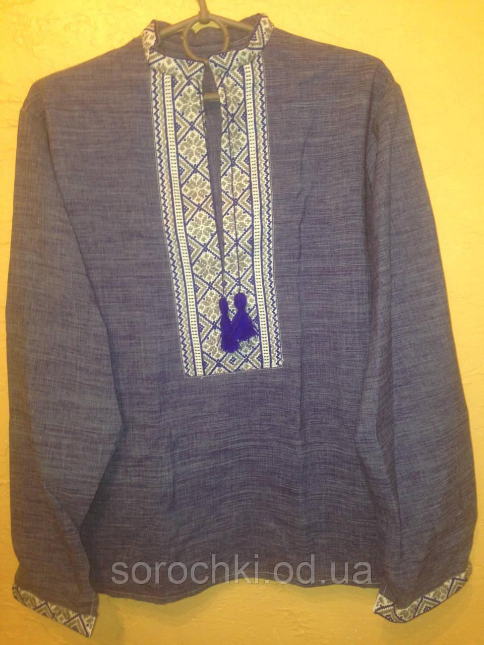Рубашка вышиванка для мальчика, сиреневая, вышивка синяя