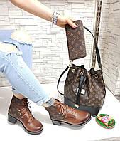 Женские ботинки на шнуровке с стильной сумкой.Турция
