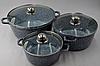 Набор посуды Benson BN-312 (6 предметов) мраморное покрытие | кастрюля