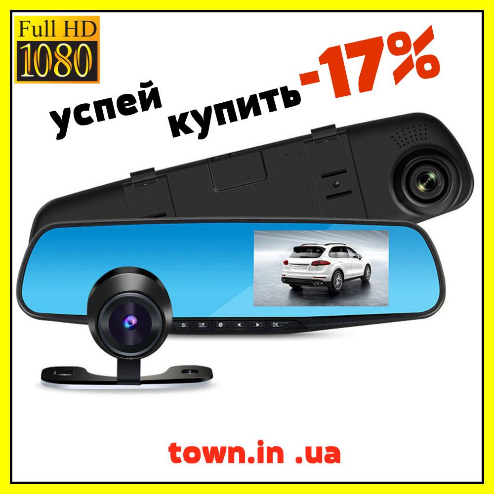 Автомобильное зеркало видеорегистратор для машины на 2 камеры VEHICLE BLACKBOX DVR 1080p камерой заднего вида, фото 1