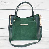 Женская замшевая сумка Mісhаеl Коrs (в стиле Майкл Корс), цвет зеленый ( код: IBG145G1 )