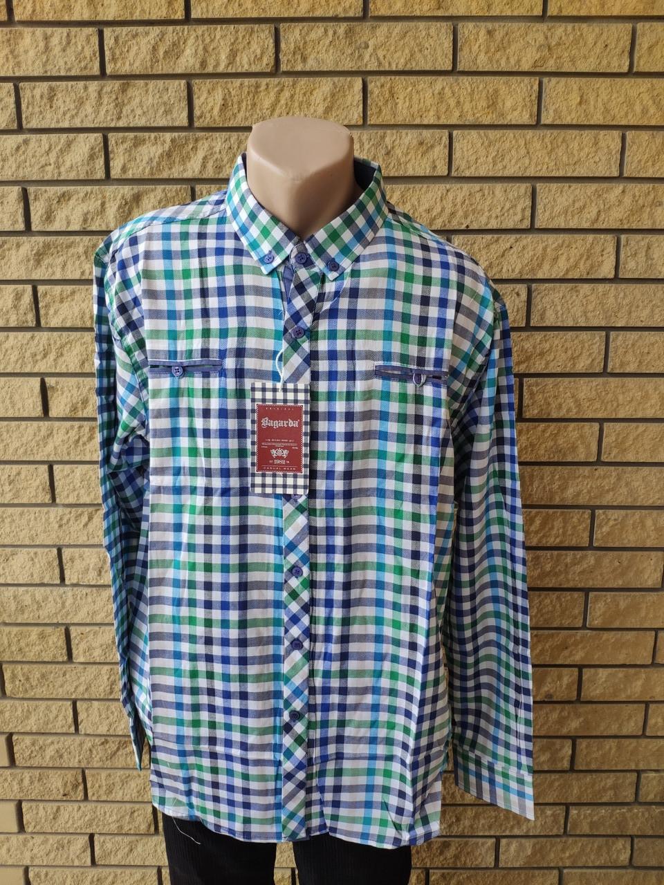 Рубашка мужская больших размеров  коттоновая брендовая высокого качества BAGARDA, Турция