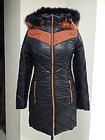 Зимняя длинная куртка Monterra с натуральным мехом, темно-синяя, фото 1