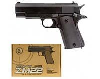 Пістолет іграшковий на пульках ZM22, металевий, дитяче зброю, фото 1