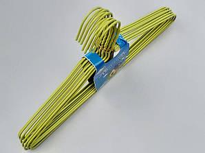 Плечики длиной 39,5 см металлические в полиэтиленовом покрытии зеленого цвета, 10 штук в упаковке