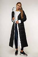 Пуховик женский черный длинный ультрамодный