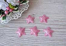Патчи звездочки с глитером розовые из эко-кожи d - 3.5 см. 18 грн  - 10 шт
