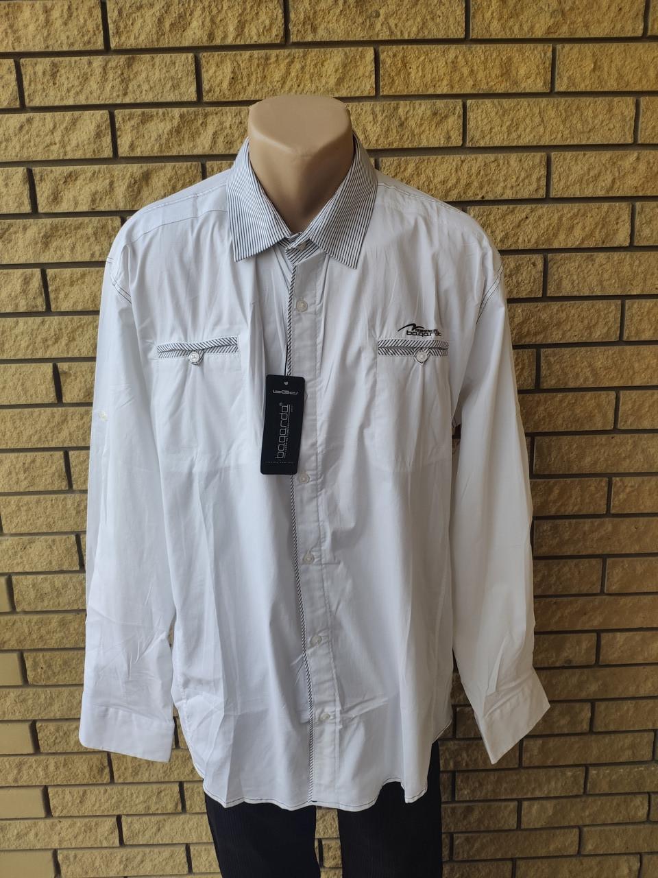 Рубашка мужская больших размеров стрейчевая коттоновая брендовая высокого качества BAGARDA, Турция