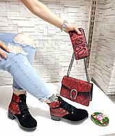 Замшевые ботинки на шнуровке.