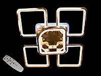 Светодиодная люстра с пультом-диммером и цветной подсветкой золото 8060-4+1