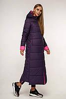 Зимний ультрадлинный теплый женский пуховик