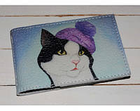 Необычная кожаная визитница ReD Кот в шапке, кожа