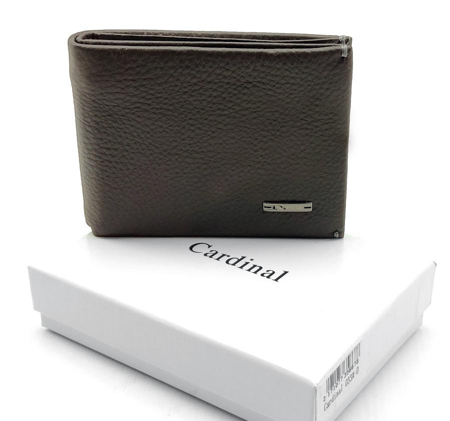 Натуральная кожаный мужской кошелек Cardinal Коричневый (033-D)