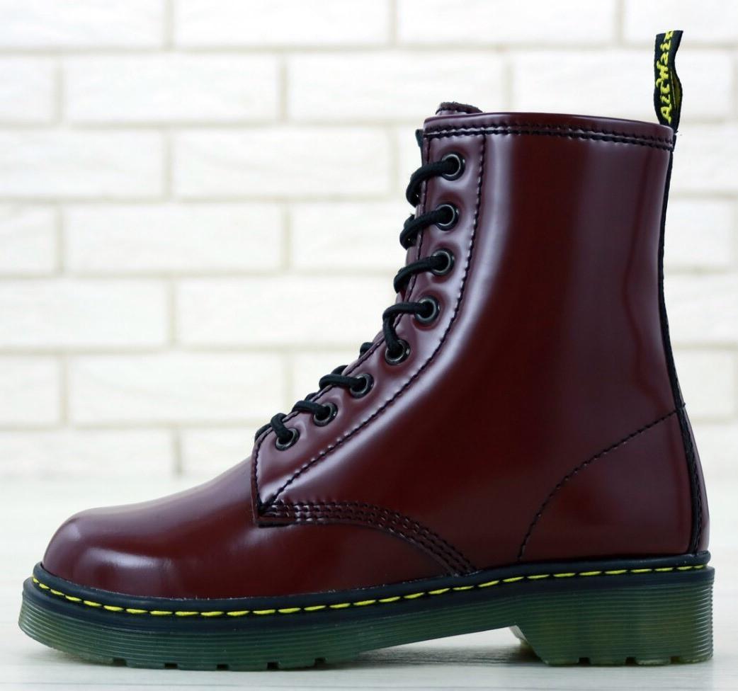 Женские зимние ботинки Dr. Martens 1460 высокие на шнуровке с мехом (Доктор Мартинс бордовые)