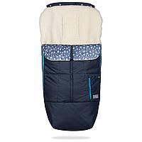 Зимний конверт-чехол в коляску на овчине ДоРечи Trend тренд синий с голубым декором 100% шерсть