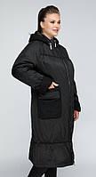 Женский длинный демисезонный плащ черного цвета больших размеров (48, 54, 56, 58, 62, 68)