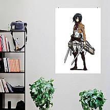 "Постер ""Микаса Аккерман, белый фон"". Атака На Титанов, Attack on Titans. Размер 60x42см (A2). Глянцевая бумага, фото 3"