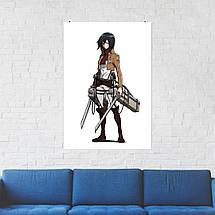 "Постер ""Микаса Аккерман, белый фон"". Атака На Титанов, Attack on Titans. Размер 60x42см (A2). Глянцевая бумага, фото 2"