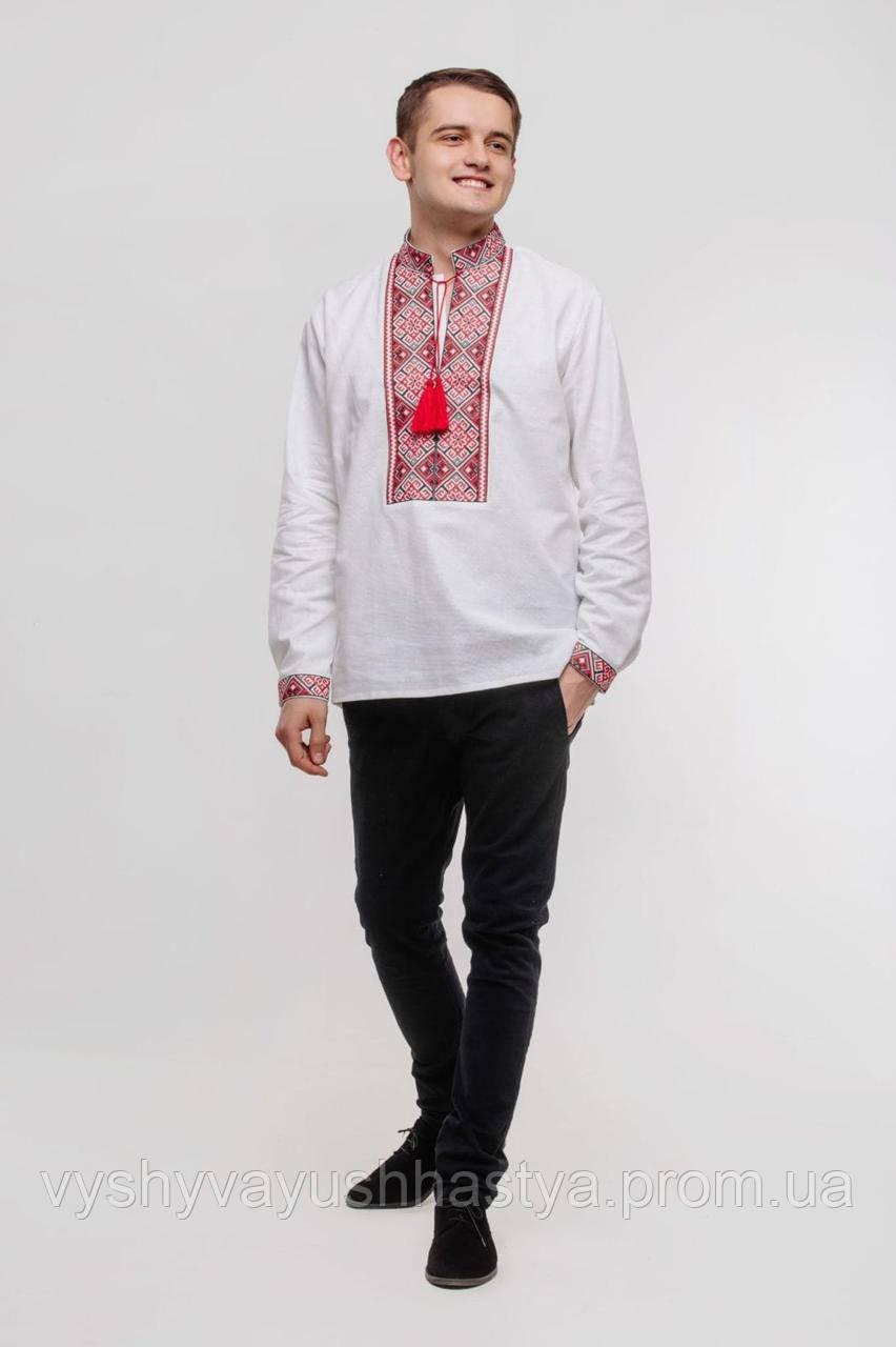 Чоловіча вишита сорочка «Ярило». Біла бавовняна з класичною чорно-червоною вишивкоюю..