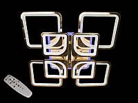 Светодиодная люстра с пультом-диммером и цветной подсветкой золото 8060-4+4