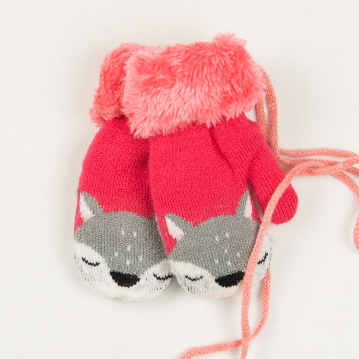 Детские теплые варежки с меховой подкладкой на 2-3 года - 19-7-59 - Коралловый