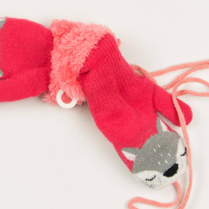 Детские теплые варежки с меховой подкладкой на 2-3 года - 19-7-59 - Коралловый, фото 2