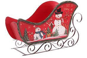 Декоративные деревянные сани на металлических полозьях, 73см, цвет - красный BonaDi 808-010