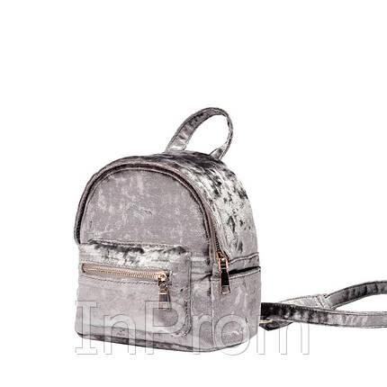 Рюкзак Yvonne Velours Mini Gray, фото 2