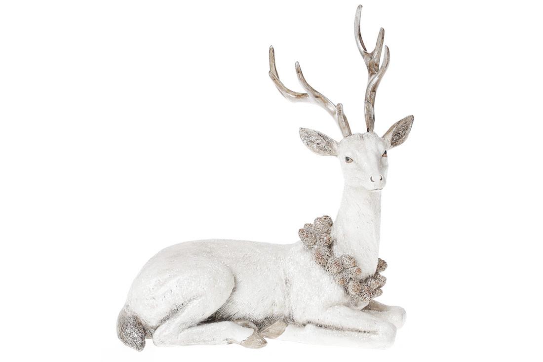 Декоративная статуэтка Олень, 21,5см, цвет - белый BonaDi 218-799