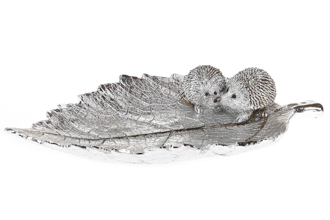 Декоративное блюдо Лист с ежиками, 21см, цвет - серебрянный BonaDi 218-804