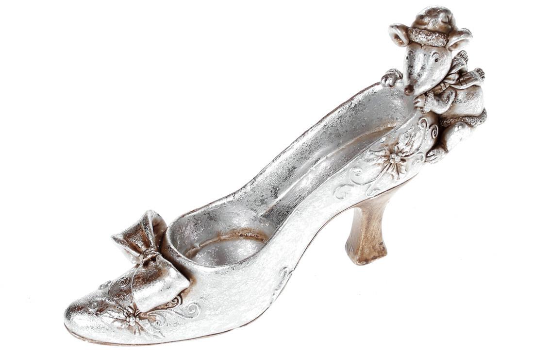 Декоративная фигрука-подсвечник Туфелька с мышкой, 18см, цвет - серебрянный BonaDi 218-808