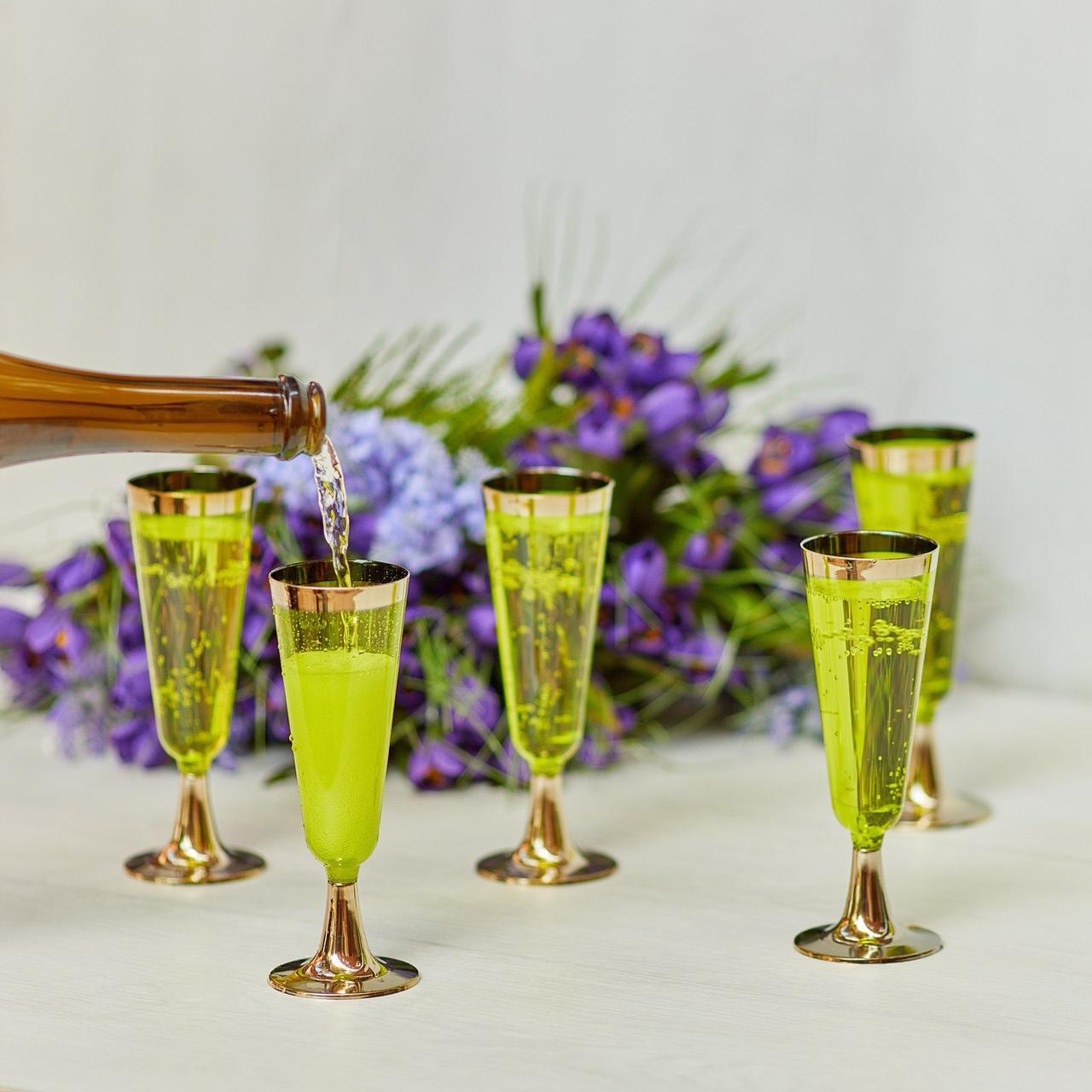 Бокалы одноразовые для шампанского стеклопластик  фуршет и кейтеринг 130 мл CFP